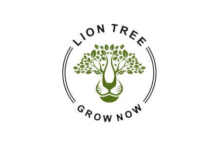 Lion tree template logo vector in whie background