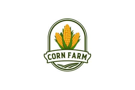 Farm Logo Template with Corn illustration. Vector Illustration in white background 矢量图像