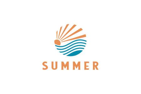 summer beach coast island, sea ocean with birds and summer sun rays logo design inspiration.