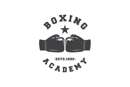 boxer academy logo with boxing gloves symbol