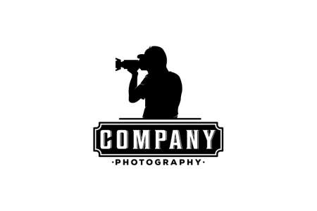 a logo for a photography company with an illustration of a professional cameraman taking pictures