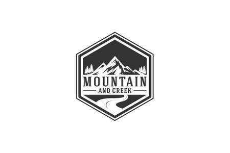 mountain and creek logo with mountain and creek illustration Ilustrace