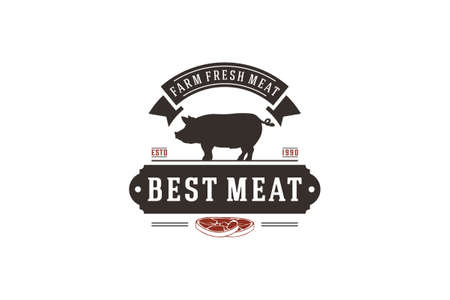 logo for a place that processes and sells fresh meat with the best quality meat Иллюстрация