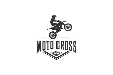 logo adventure using a motorcycle around the mountain trails in white background