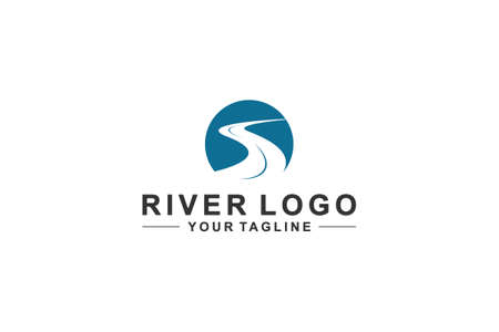 beautiful river logo on white background