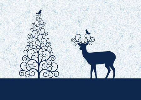 birdies: Winter illustration with silhouettes Christmas tree, reindeer and birdies Stock Photo