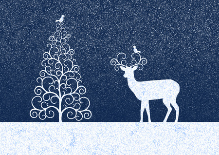 birdies: Background is blue with a graphic silhouettes Christmas tree,  reindeer and birdies