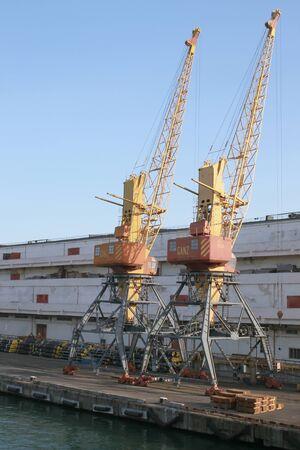 Cargo cranes in the seaport