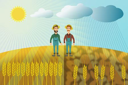 Wheat harvest - two farmers on a wheat field Stock Photo