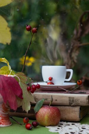 Books, tea, and apple on the table. Autumn still life.