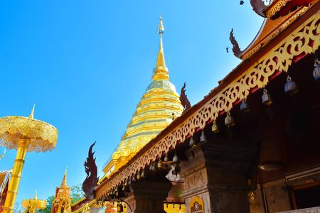 buddhist temple roof: Gold Pagoda is a Buddhist temple. Its name is  Wat Phrathat Doi Suthep in Chaing Mai,Thailand.