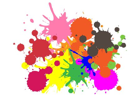Colorful Paint | Ink Splashes | Drops | Vector Grunge Background Ilustracja