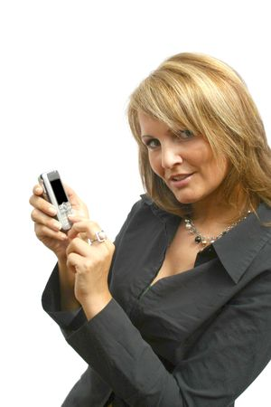 A beautiful young Woman with phone photo