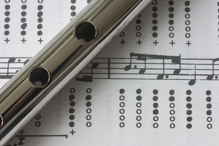 A close up of a tin whistle on sheet music photo