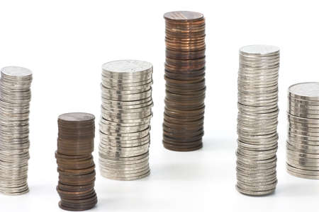 sorted: sorted piles of coins Stock Photo