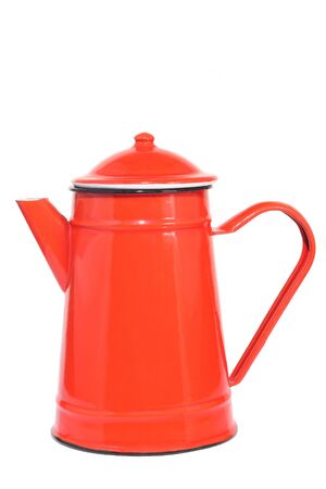 Red vintage teapot, isolated on white