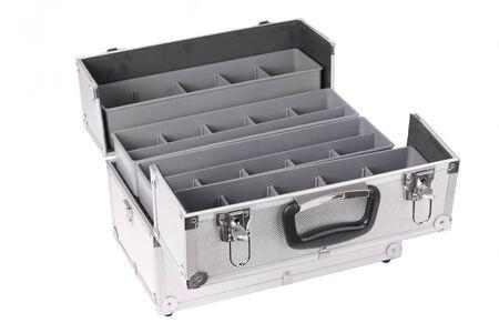 Aluminium toolbox isolated on white Stock Photo