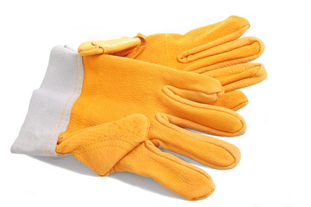 Pair of yellow protective gloves isolated on white Stock Photo