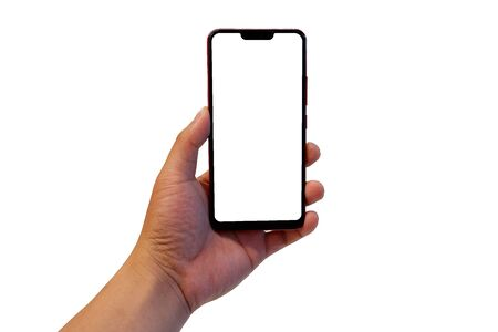 Hand holding a smartphone on white background.