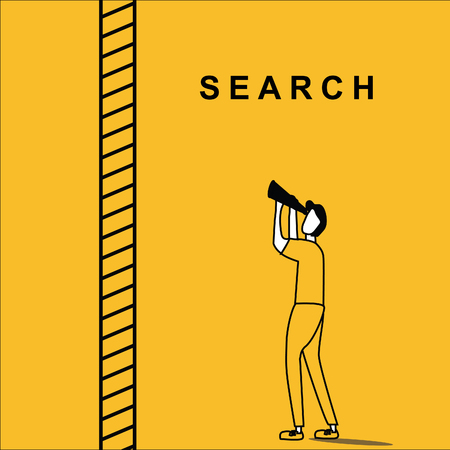 Man searching above the ladder Man with binocular searching for idea with a step ladder beside him, with infinite range. Stock Illustratie