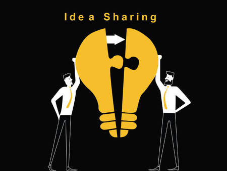 Two man are sharing the idea bulb puzzle to unite the one idea