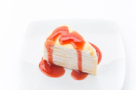 vanilla crape cake with strawberry jam photo