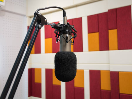 Microphone in a recording room photo