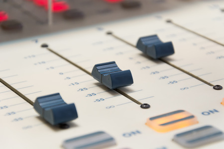 buttons equipment in audio recording board photo