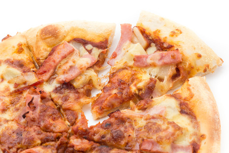 hawaiian pizza isolated on white background photo
