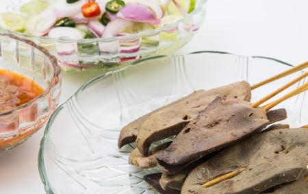 peanut sauce: pork liver Satay with Peanut Sauce
