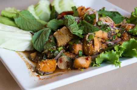 isaan: Salmon larb spicy salad thai style Stock Photo