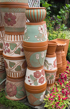 planters: The flowerpots made from baked clay