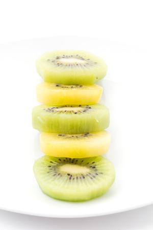 Kiwi and Golden Kiwi fruit isolated on white background photo