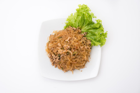 isaan: Larb vermicelli or Spicy Vermicelli.Traditional Thai food