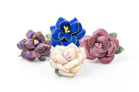 brooch: flower of silk brooch isolated