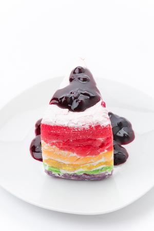 Rainbow crepe cake with blueberry jam photo