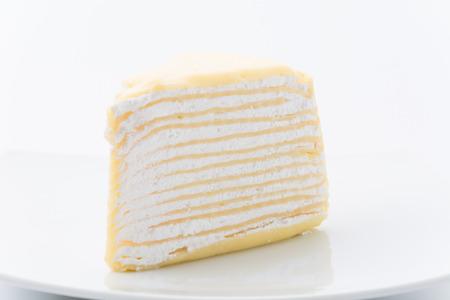 vanilla crape cake isolated on white background photo