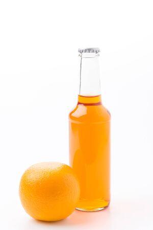 sauternes: orange wine isolated on white background Stock Photo
