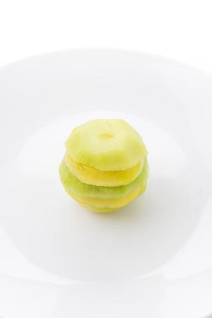golden section: Kiwi and Golden Kiwi fruit isolated on white background