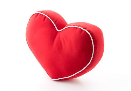 rood hart kussen op een witte achtergrond Stockfoto