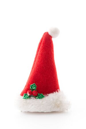 snow man party: christmas hat isolated on white background Stock Photo