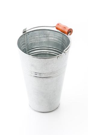 steel bucket: Steel bucket isolated on white background
