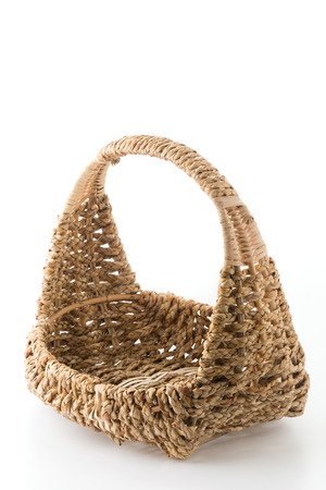 woven: Woven basket on white background