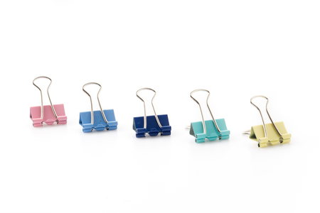 paperclips: pastel Paperclips on White Background Stock Photo