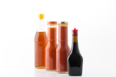sauce bottle: sauce bottle on white background Stock Photo