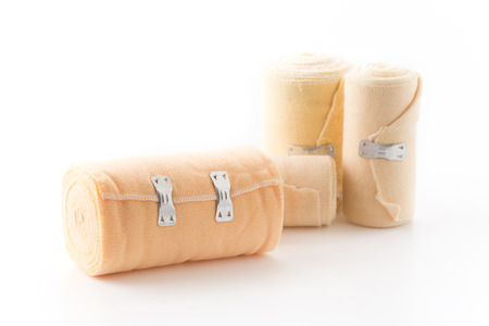 white bandage: bandage isolated on white background Stock Photo