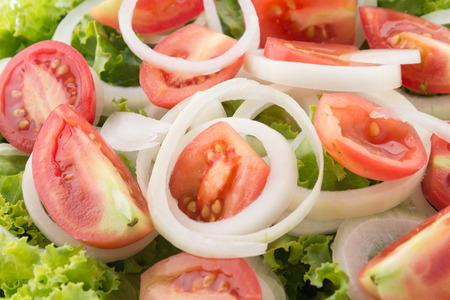 whitebackground: Fresh vegetables salad on whitebackground