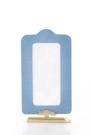 blue picture frame on white background photo