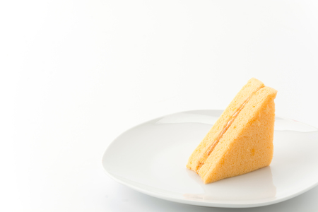 chiffon: chiffon cake on white background