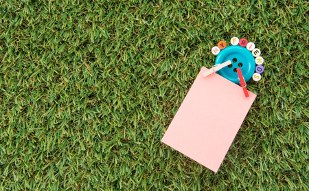 notepaper: Notepaper on green grass background Stock Photo
